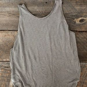 Free People Green Striped Tank Top Size S